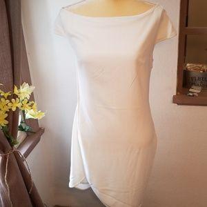 Halston heritage eggshell side zip dress small